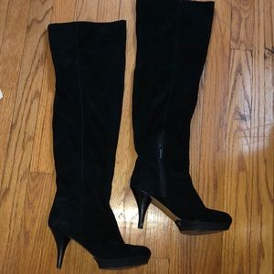 Tall black suede boots by Nine West . Side zip